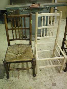 wooden chairs with broken caned seats