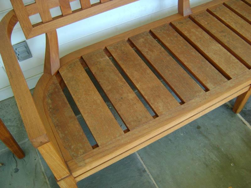 damaged teak outdoor bench