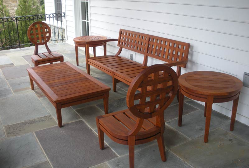 teak outdoor chairs, sofa and tables, restored by Georgetown Refinishing & Antique Restoration