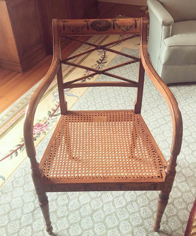 restored wooden chair with new caning